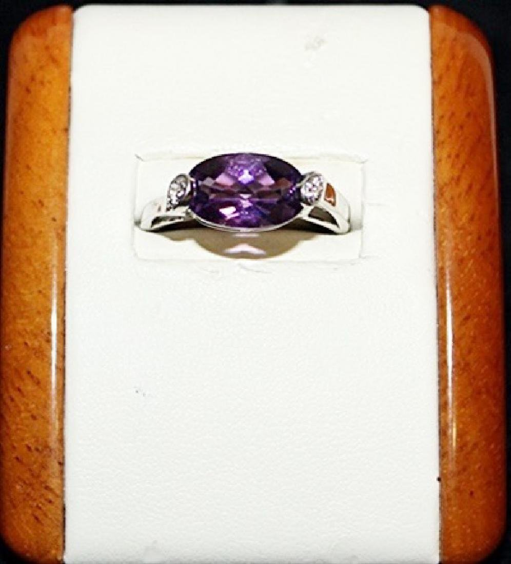 Beautiful Amedyst with Diamonds Silver Ring.