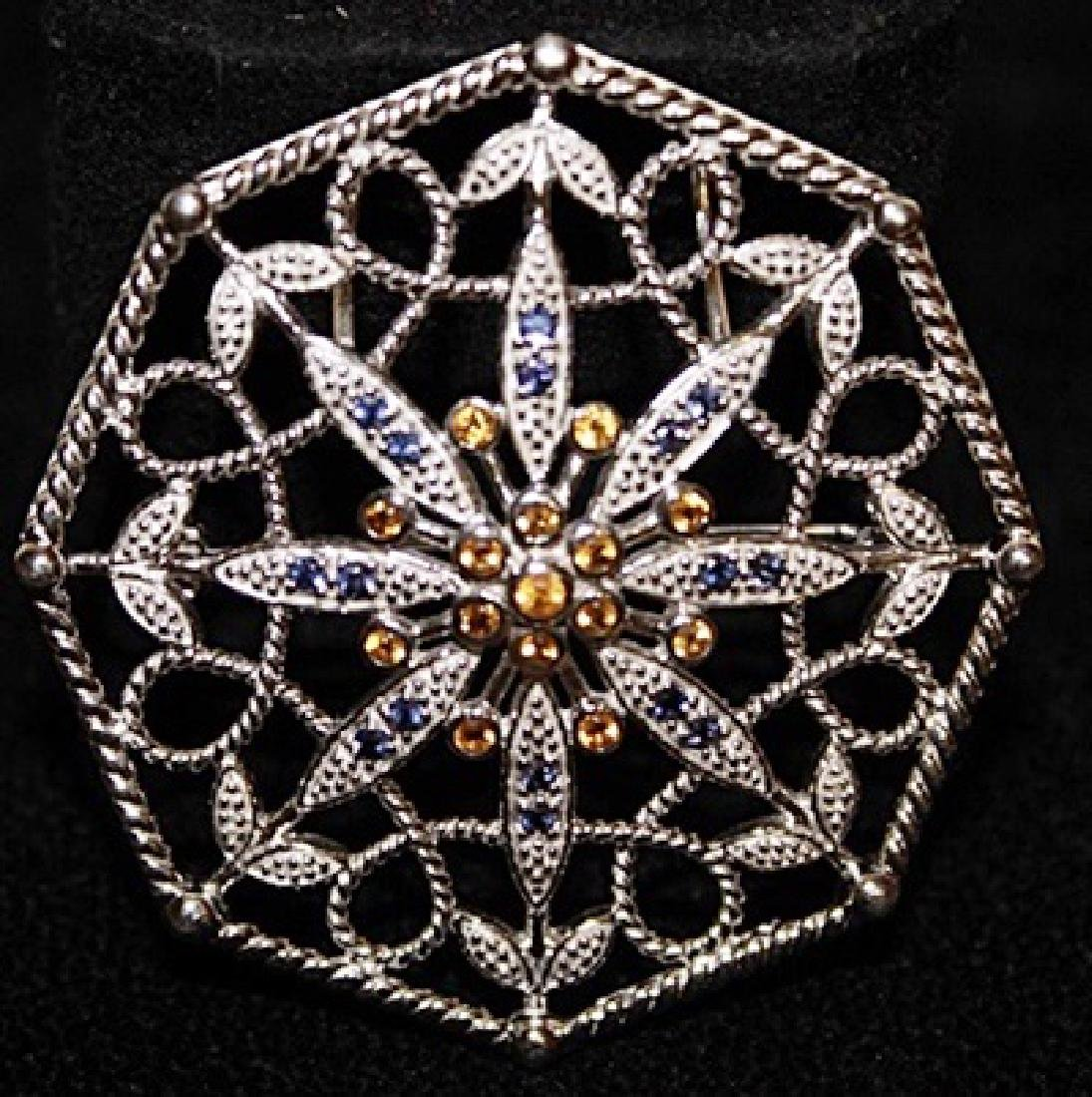 Lady's Fancy Golden & Blue Sapphires Pendant or Pin.