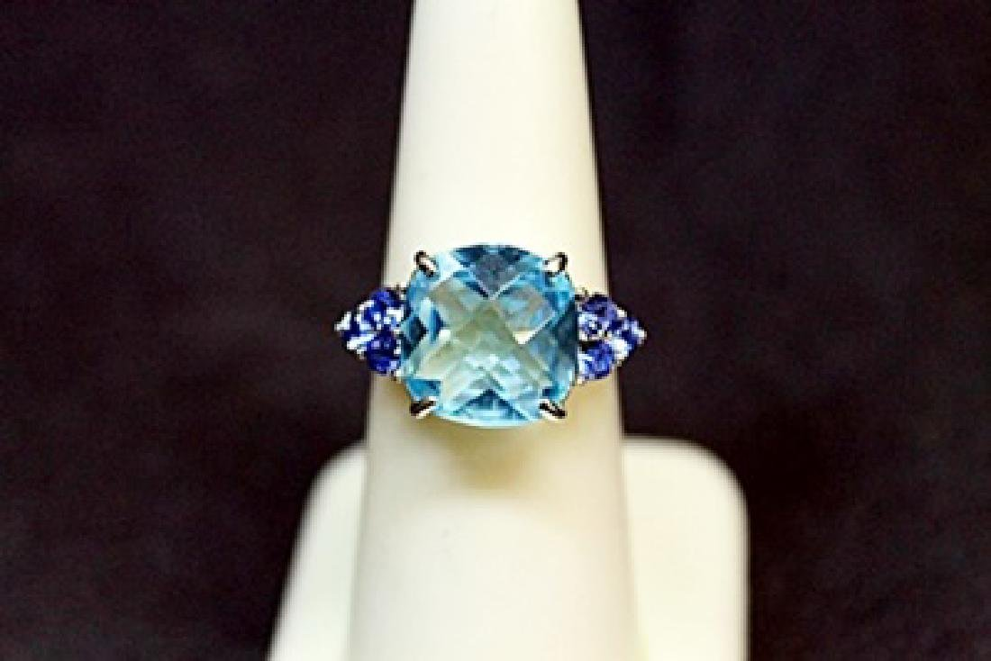 Lady's Fancy Blue Topaz Silver Ring.