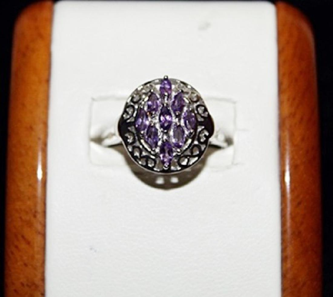 Beautiful Antique Stylw Amedyst Silver Ring.