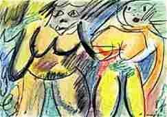 Two Woman VII Pastel Drawing on Paper - Willem De