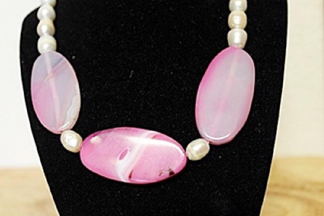 Pink Tourmaline/ White Baroque Pearl Necklace - 2