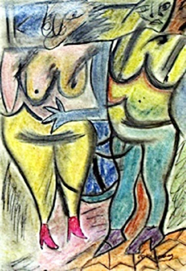 Two Woman I Pastel Drawing on Paper - Willem De Kooning