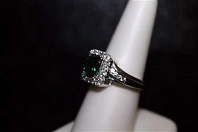 Very Fancy Lab Emerald & White Sapphire Ring. (301J)