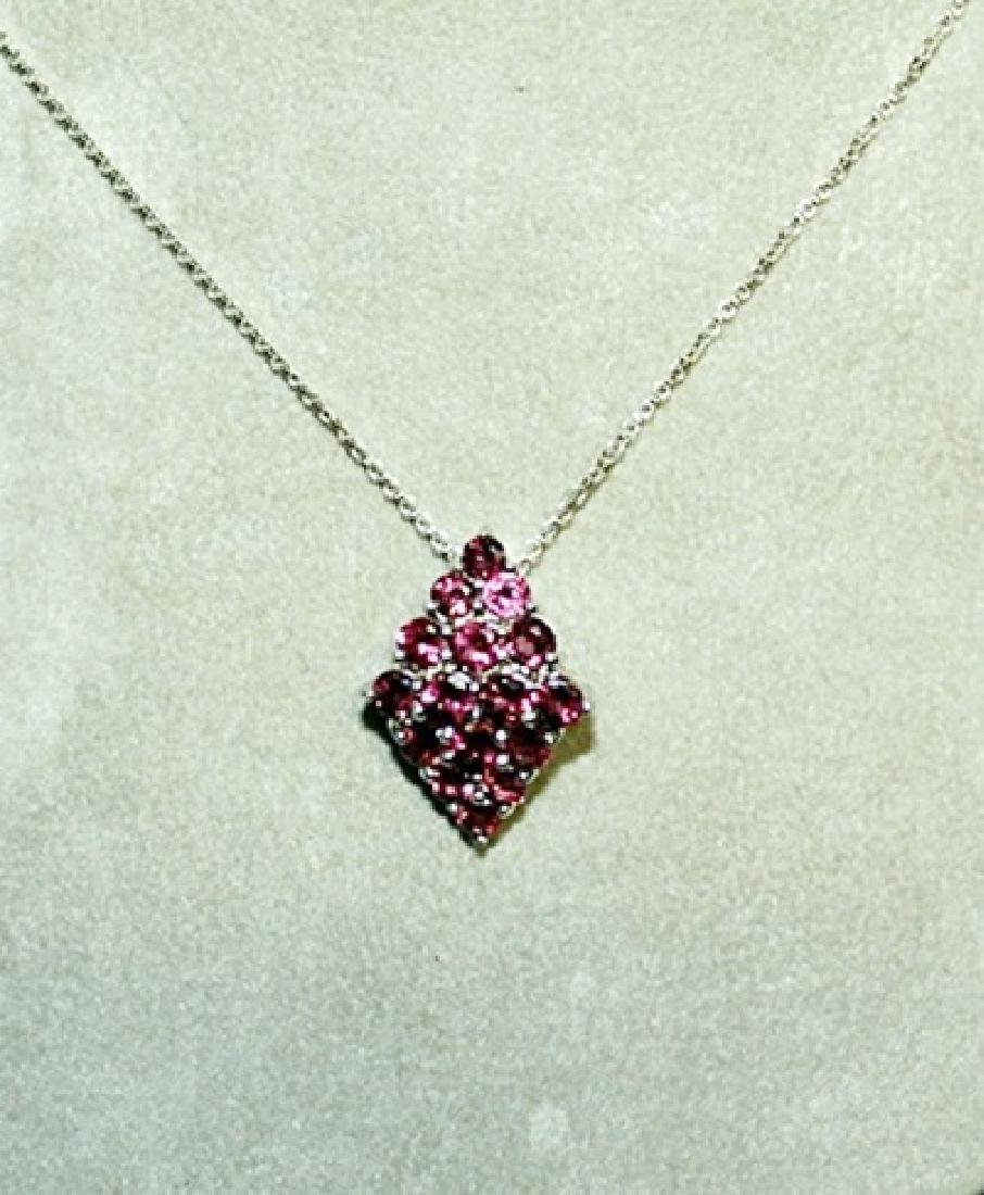 Lady's Fancy Pink Sapphire Pendant with Chain.
