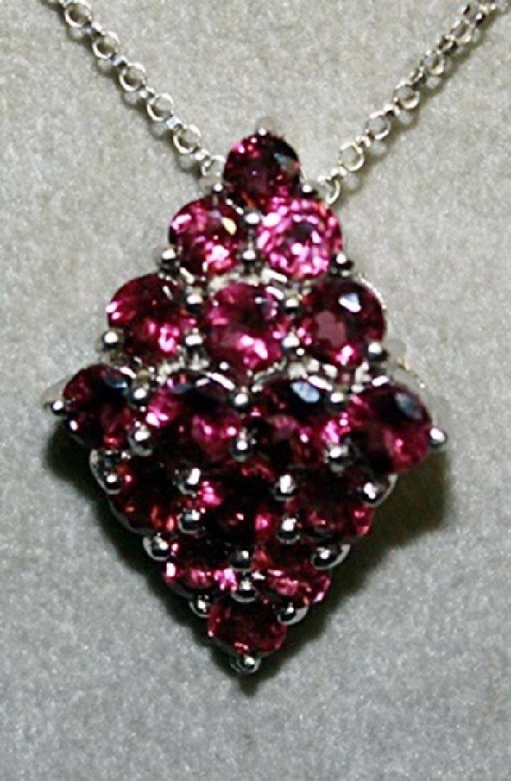 Lady's Fancy Pink Sapphire Pendant with Chain. - 2