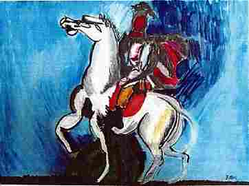 The White Horse - Franz Marc - Watercolor On Paper