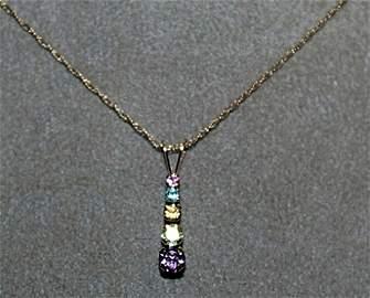 Lady's 10kts Pendant Amedyst, Peridot, Golden Sapphire,