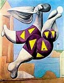 Bather with beach ball- in the style of Picasso