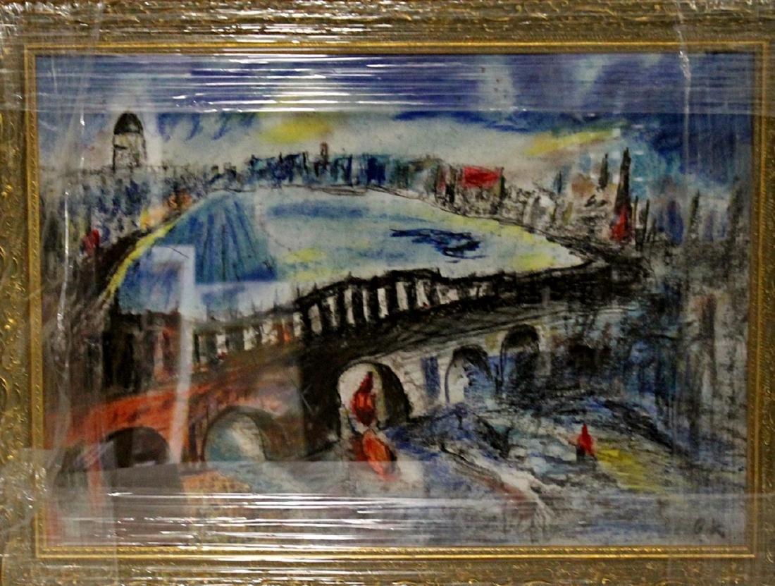 In they style of Oskar Kokoschka - The Bridge - Pastel