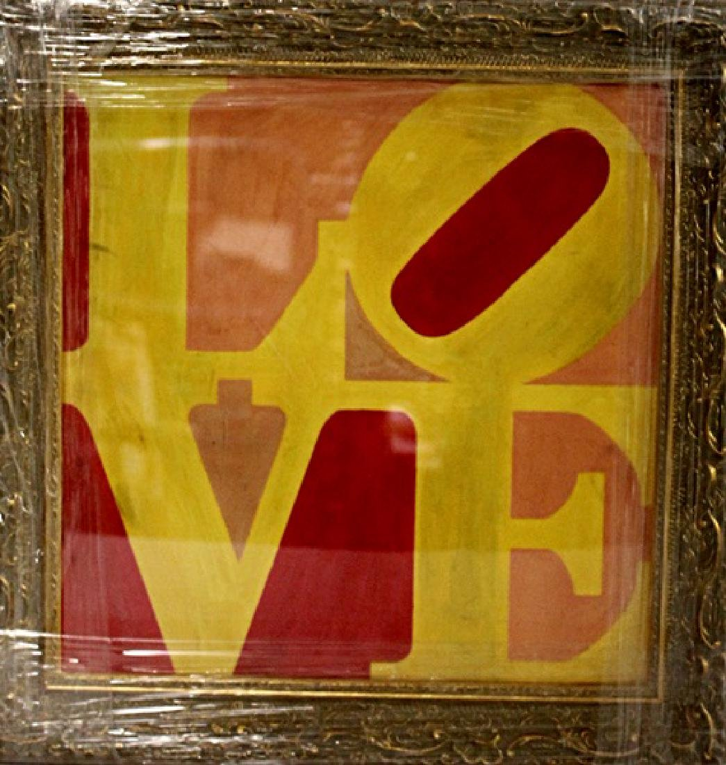 In they style of Robert Indiana - Love - Oil on paper
