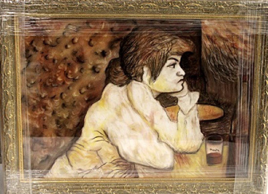 In they style of Henri De Toulouse - Woman At The Table