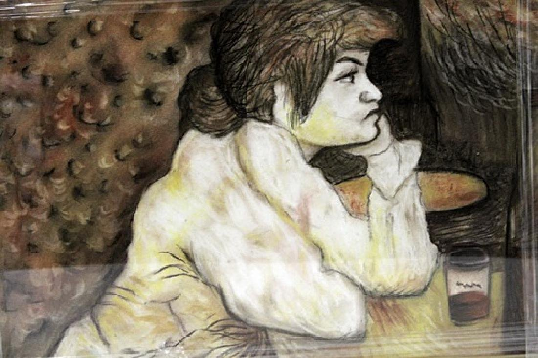 In they style of Henri De Toulouse - Woman At The Table - 2