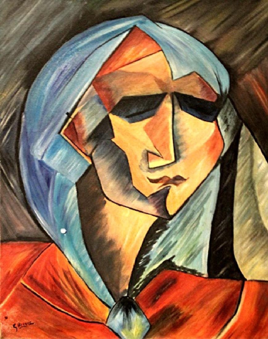 In they style of Georges Braque - Head Of A Woman - Oil