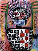 Jean Michel Basquiat in the style of - Oil On Panel