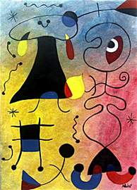 Oil on Paper In the style of Joan Miro