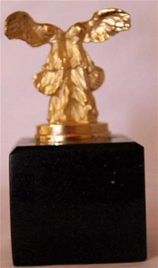 Winged Bust Gold over Bronze Sculpture after