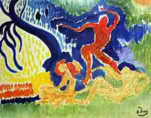 Characters on the Forest in the style of Andre Derain