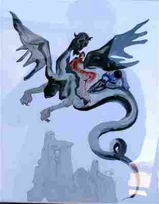 On Geryons back Salvador Dali Inferno Lithograph