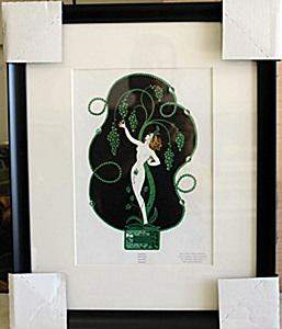 Framed Lithograph Emerald In the style of Erte