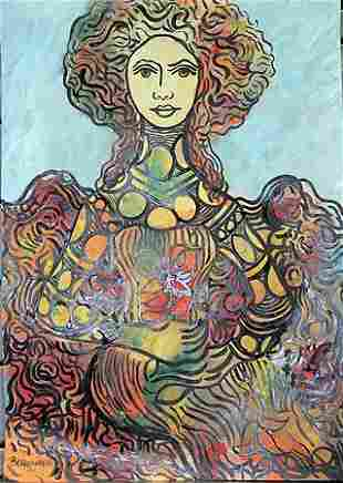 Woman With Flowers Rene Portocarrero in the style of