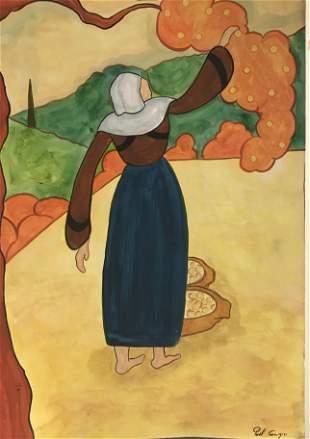Orange Picker in the style of Paul Gauguin