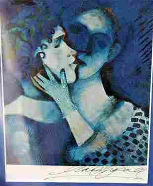 Lovers in Blue Marc Chagall Lithograph