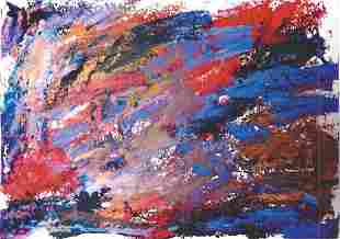 Joan Mitchell Oil On Paper In The Style Of