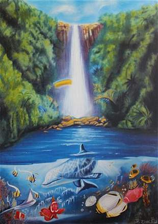 D ZION DOLPHIN WATERFALL HAND SIGNED LIMITED ED