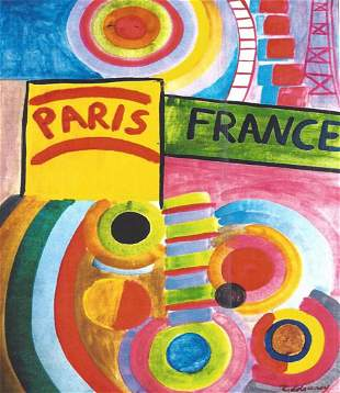 Composition Robert Delaunay Oil On Paper In The