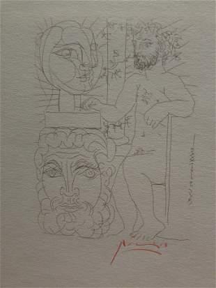 Pablo Picasso Escultor Y Dos Cabezas Esculpidas