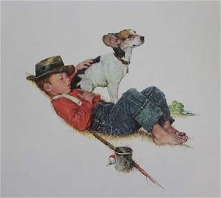 Norman Rockwell Boy and dog