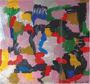 Fellini Philip Guston Oil On Paper In The Style Of
