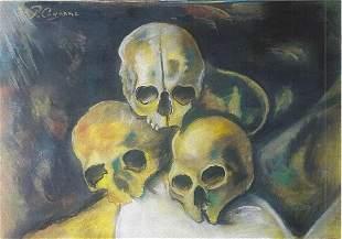 Three Skulls Paul Cezanne Pastel On Paper In The