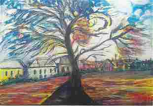 The Tree Edvard Munch Pastel On Paper In The Style