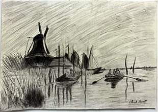 Pastel Drawing on Paper in the style of Claude Monet
