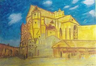 The Church Alfred Sisley Pastel On Paper In The