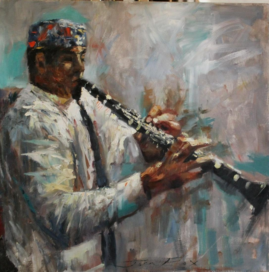 Clarinet Player - Oil on Canvas - Jorn Fox