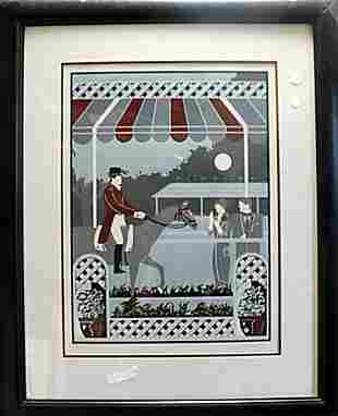 Framed Hand Signed Lithograph Paddock DelValle