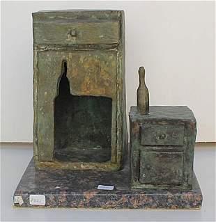 Dresser with Night Stand Bronze Sculpture Salvador