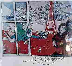 Les maries de la Tour Eiffel Marc Chagall