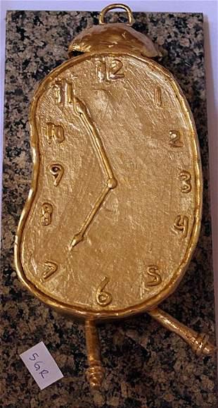 Melted clock Gold over Bronze Sculpture after
