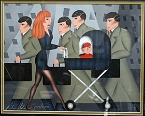 """Lithograph """"Working Mom"""" after Robin Morris"""