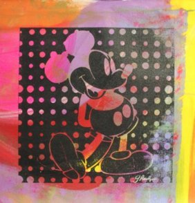 "Original/mixed Media On Cavas ""negative Mickey"" By Gail"