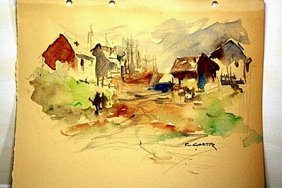 Eduardo Cortez Original Watercolor On Paper -