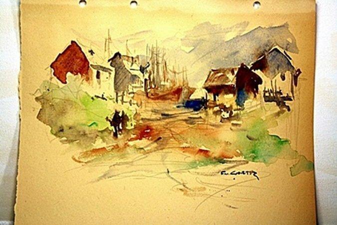 Eduardo Cortez Original Watercolor on Paper -