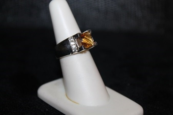 Fancy Citrine and White Sapphire Ring.  302J