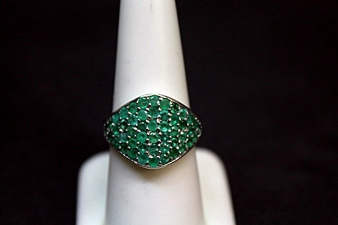 Unisex Columbian Emerald Silver Ring.
