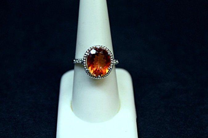 Very Unique White Gold Orange Citrine & Diamond Ring.
