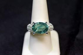 Beautiful Flourite And White Topaz Ring 147r